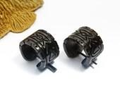Hoop Earring Handmade Buffalo Horn Post Earrings Aztec GeometricTribal Style -  PE027 H G1