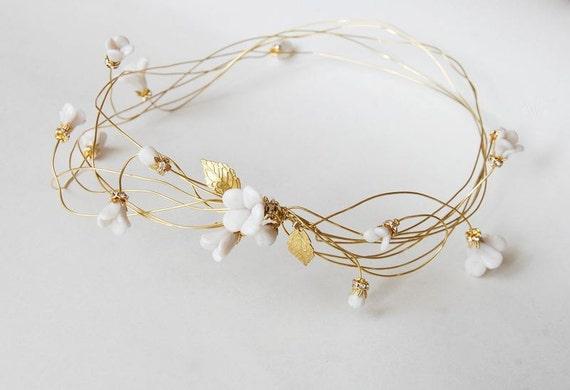 Bridal hair crown, flower hair wreath, gold headpiece, wedding hair jewelry, bride hair accessory, white clay, rustic wedding - Annie