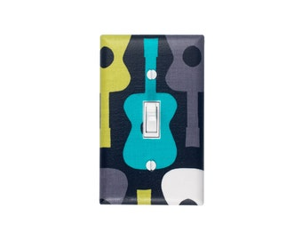 Groovy Guitar Light Switch Plate Cover / Baby Boy Nursery Decor / Teal Green Gray Black Lagoon / Boys Room Bedroom / Michael Miller Guitars