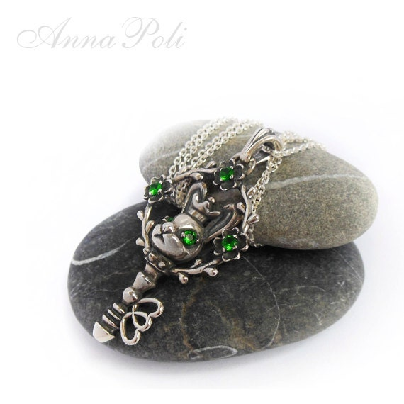 """Silver Amulet Pendant """"Magic Key"""" , Love,  unique, rabbit, mysticism"""