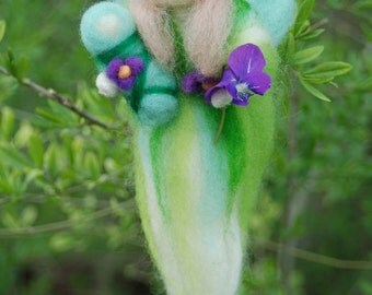 Spring Fairy With Baby Waldorf Inspired Handmade Angel Needle Felted