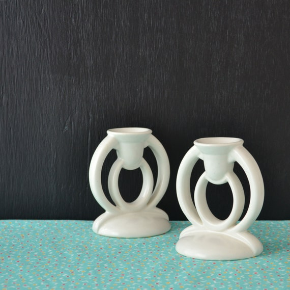 Bauer Pottery Candlesticks Art Deco Candle Holders Unity
