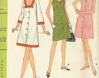 """McCalls 8803 Ladies Coat Dress with/out sleeves Size 12 Bust 32"""" Vintage Uncut sewing pattern"""