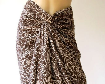 SALE! Batik Sarong, Brown Sarong, beach cover up