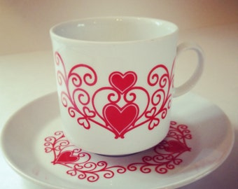 """Demitasse Cup and Saucer 4 fl. oz. Hearts Curls And Frills Stands 3"""""""