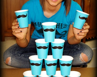 12 Mustache Paper Party Cups-Mustache Cups-The Handlebar- Aqua color cups- Little Man Party- Mustache Party Decorations