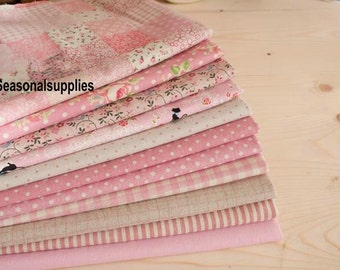"""Pink Bundle Pink Linen Cotton Fabric Bundle- Pink Fabric Fat Quarter Bundle, 11 Fat Quarters Pieces each 13""""X9"""" (QT128-S)"""