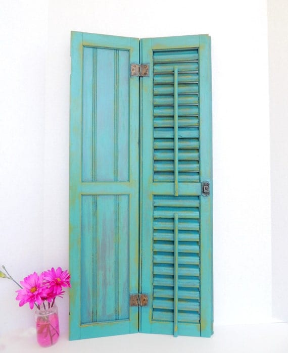 Teal Shutters: Antique Shutters Painted Teal And Yellow Shabby By