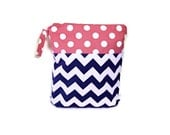 12x15 Navy blue Pink chevron polka dots wet bag waterproof cloth diaper zipper medium swim bathing suit pool beach boy girl wetbag