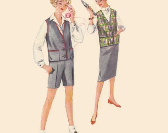 Vintage 50s Sewing Pattern Simplicity 3046 School Girl Uniform Shorts Vest Pencil Skirt Sleeveless Jacket Bust 34