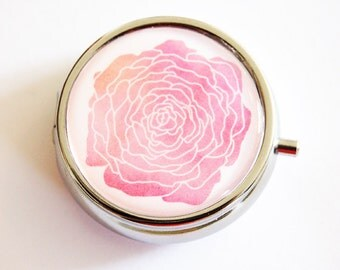 Rose Pill Box, Pill Case, Pill Container, Floral, Gift for Mom, Bridesmaid gift, Rose, You Select Color, Round pill case (2360)