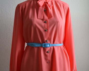 Pop of  Coral Pink Tie Blouse w silver buttons