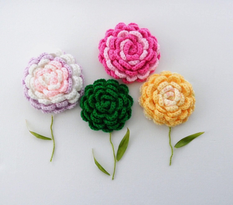 Crochet Brooch Corsage Applique Rose Brooch Any Color