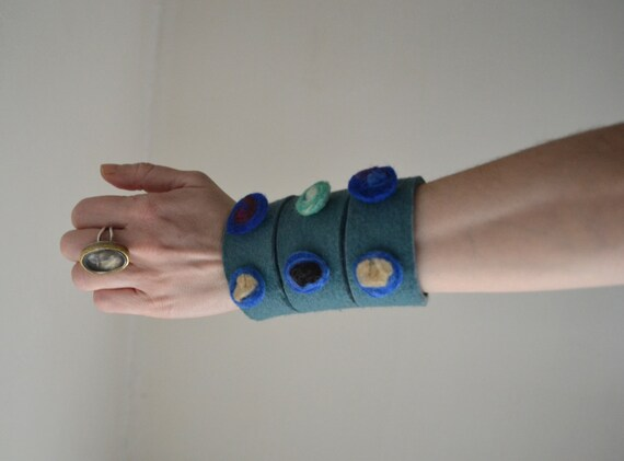 Felt Cuff Bracelet - Felt Cuff Bracelet  - Sea Green Cuff - Adjustable