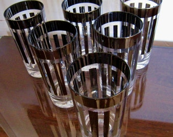 Silver Ombre or Mercury glass tumblers mid century vintage originals mad men era