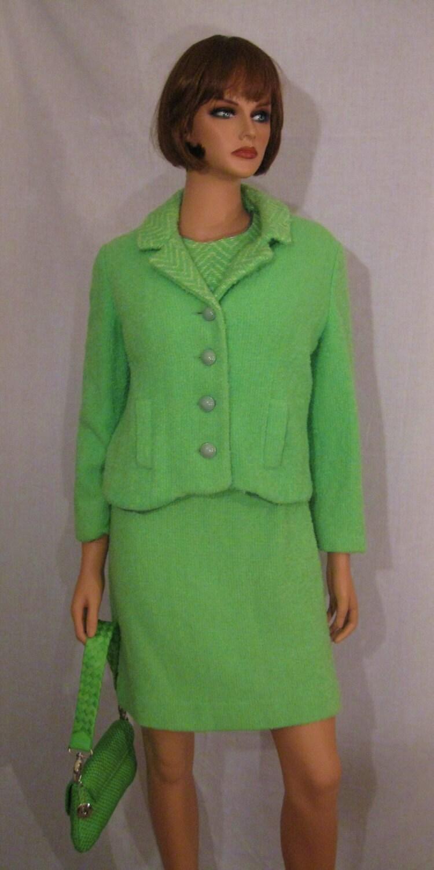 1960 S Lime Green Boucle Wool Dress Suit 2 Piece Mod