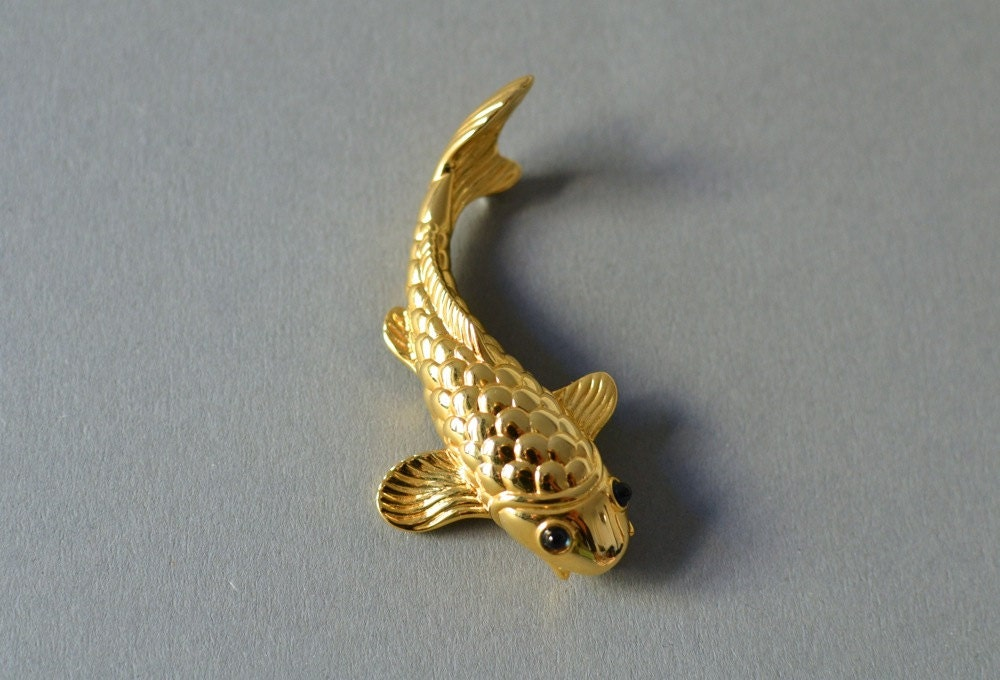 Reserved Vintage Brooch Koi Fish Jewelry Animal Quirky Fashion