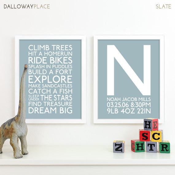 Baby boy art boy nursery art playroom rules subway art baby - Wall decor for baby boy ...