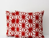 2 Decorative pillow covers- cotton/linen throw pillows - red colors floral ornament print cushion case - 16x16    0221