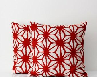 Linen pillows set - cotton - linen pillow covers - red colors floral ornament print cushion cases - 16x16    0221
