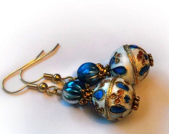 Circus carnival cloisonne earrings, enamel blue white drop dangle earrings, gifts for women, mom, wife, sister, girlfriend gift, for her