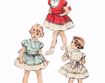 """RARE 1940s Girls' Party Dress, Peter Pan Collar, Puffed Sleeves, Gathered Skirt, Pouff Pockets, Advance 5240, Unprinted, Size 3, Breast 22"""""""