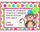 Monkey Thank You Note - Girl Monkey Thank You Card - Bright Color Birthday Party Printable - Polka Dot Stripe Theme - Pink Teal Green