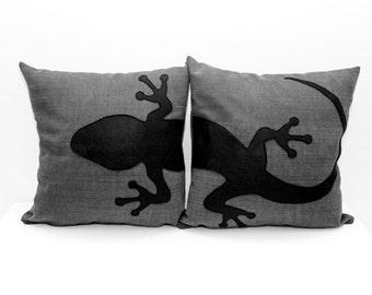 Gecko pillow covers, dark grey and black, decorative pillow, sofa pillows, animal pillows, dog lover gift, pillow set