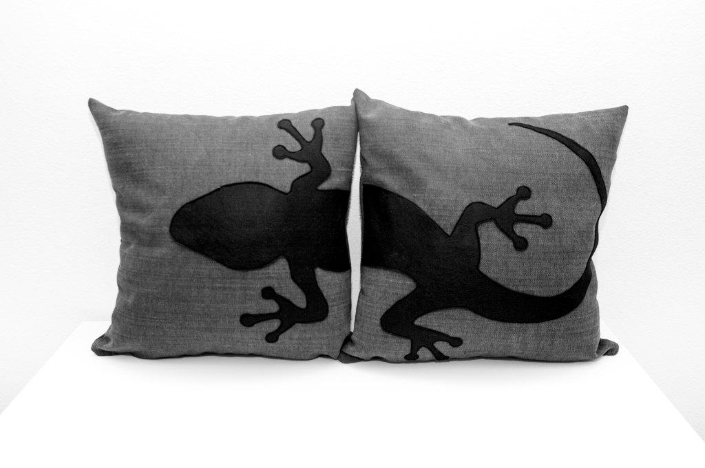 Dark Gray Decorative Pillow : Gecko pillow covers dark grey and black decorative pillow