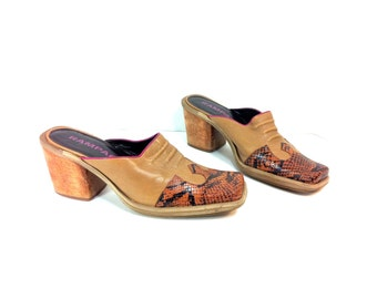 90s Leather Clogs 8 - Slip On Western Mules 8 - Cowboy Boots 8 - Snake Skin Sandals 8