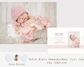 INSTANT DOWNLOAD 7x5in Birth Announcement flat card psd template