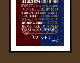 Personalized Texas A&M University / University of Notre Dame House Divided Print or Canvas -Fighting Irish - Aggies - Divided Household