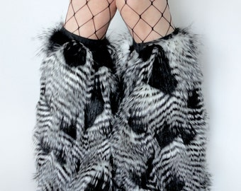 FeATHEr FuR rave Fluffies legwarmers furry bootcovers fuzzy boots black white Fancy Upscale halloween costume leggings