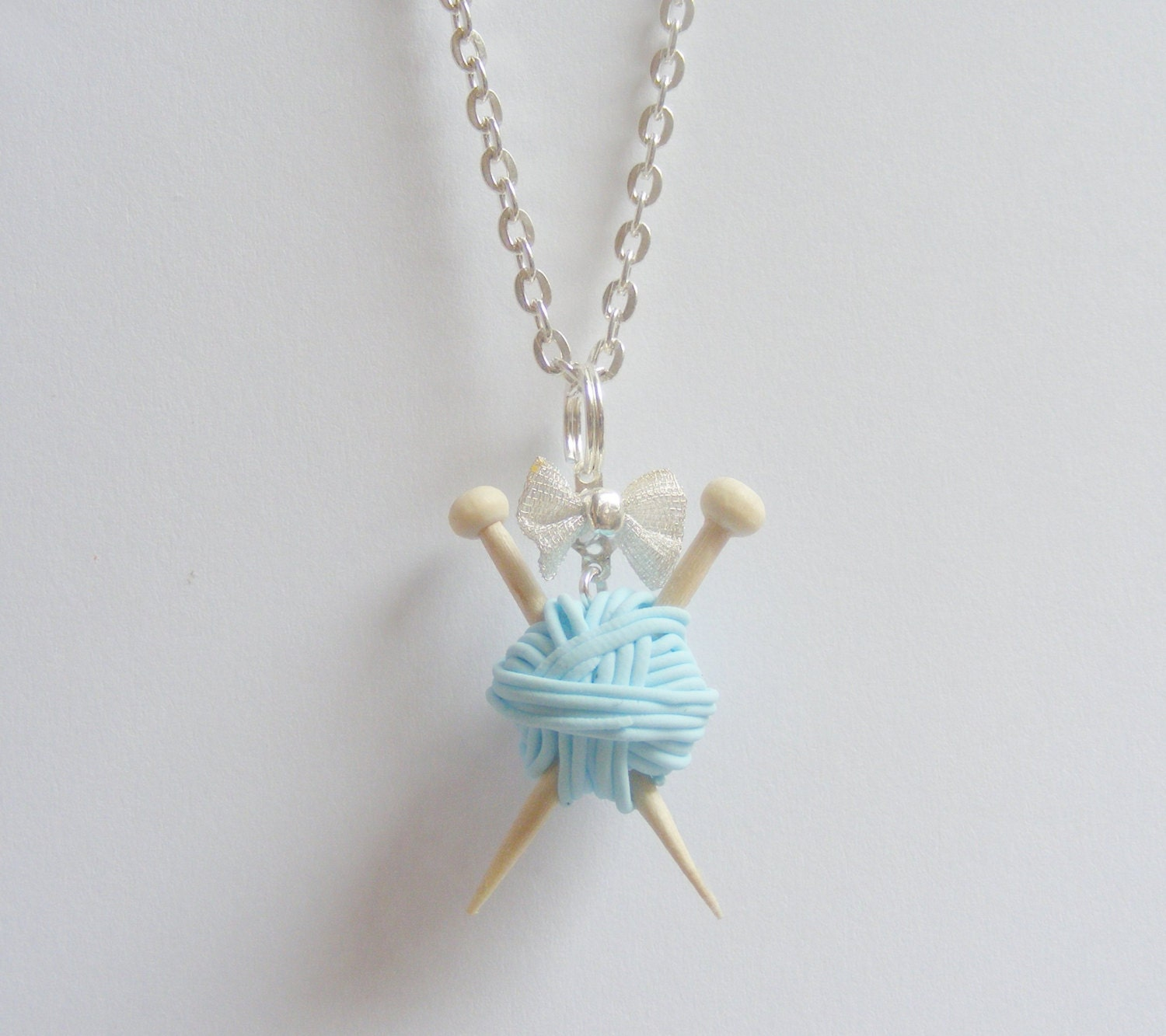 Knitting Needle Gauge Necklace : Knitting needles and wool necklace by