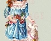 "Digital Download ""Bo Peep"" Antique Die Cut Victorian Scrap Graphic Image"