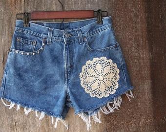 "VINTAGE LEVIS SHORTS studded denim high waisted booty cut offs light blue bleached doily applique hippie trim 30"" waist"