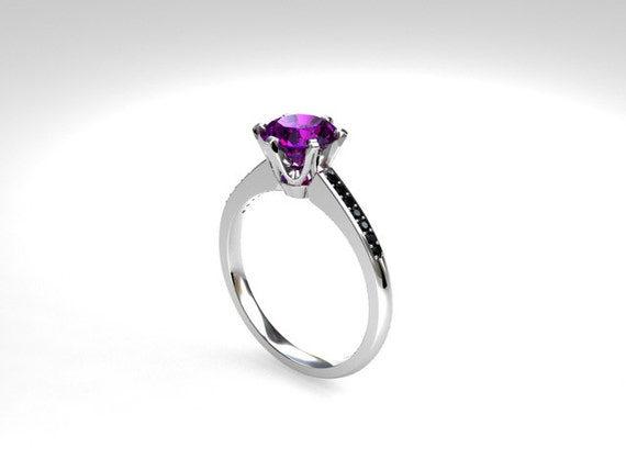 Amethyst Ring White Gold Black Diamond Engagement Ring