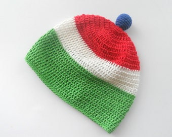Crochet Baby summer hat Italy Italian flag hat Green White Red baby hat Striped baby summer hat Summer Spring baby accessory