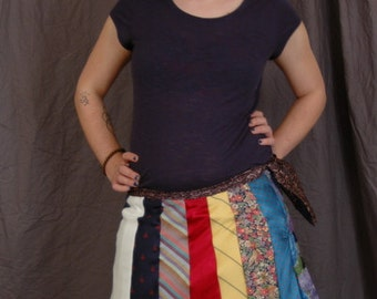 Up-Cycled Tie Skirt With Zipper
