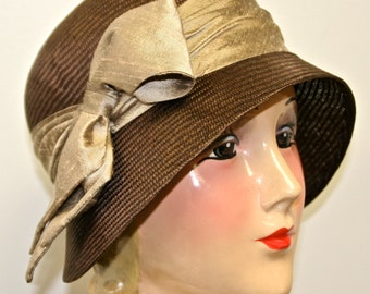 Chocolate Brown Parasisal Straw Women's Hat, Cloche Hat, Vintage Inspired,  Kentucky Derby Hat, Easter Hat, Downton Abby