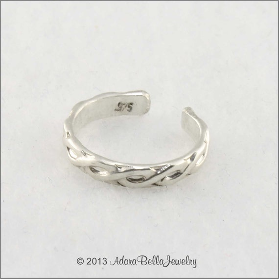 Sterling Silver Adjustable Braided Wire Pattern Toe Ring