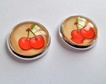 cherry earrings silver vintage style stud post 13 mm glass photo
