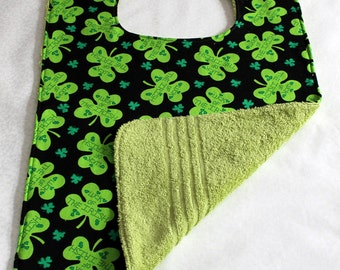 Adult Bib/Clothes Protector  -  Reversible Clothes Protector - St. Patricks Day - Shamrock  - Green