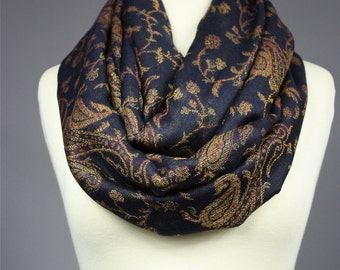 Black infinity scarf, Black scarf, pashmina, paisley