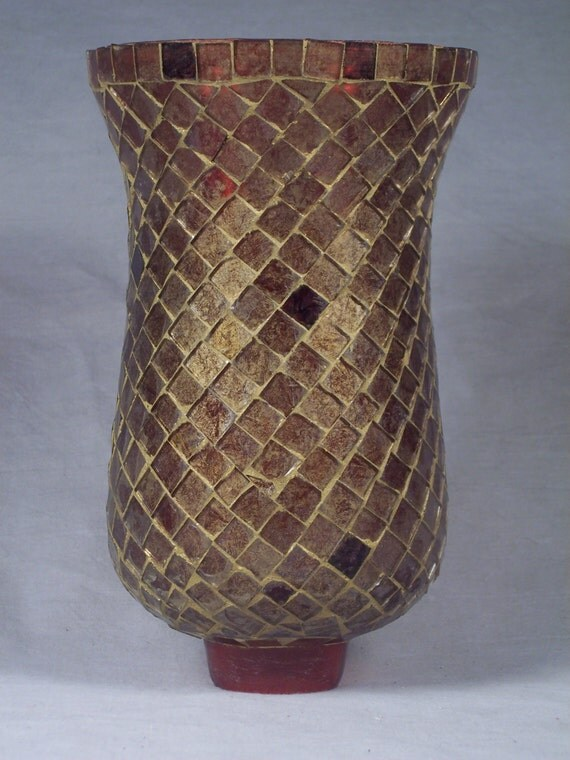 Replacement Glass Wall Lamp Shades : Glass Mosaic Hurricane Lamp Wall Sconce Replacement Shade