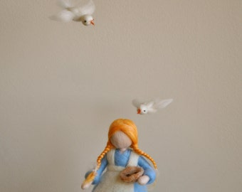 Children Mobile Waldorf inspired needle felted Fairy Tale: Cinderella