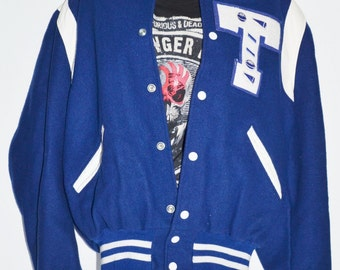 Lettermen Jacket Football Jacket Varsity Jacket Varsity Coat Letter T Blue and White Lettermen Jacket