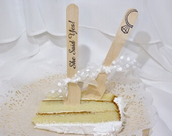 She Said YES 18 of THE Cake Fork Wood Utensil  Little Cake Testing Perfect Mini Fancy Social Sized Bridal Shower
