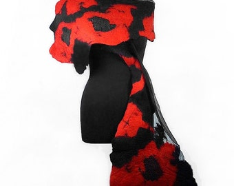 Black Felted Scarf Nunofelt Scarves Nunofelt Chic Nuno felt silk wearable art evening shawl fiber art