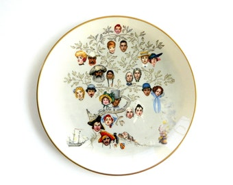 "Norman Rockwell collectors plate "" A Family Tree "" from The Saturday Evening Post Gorham china Mothers day gift home decor vintage 1970s"